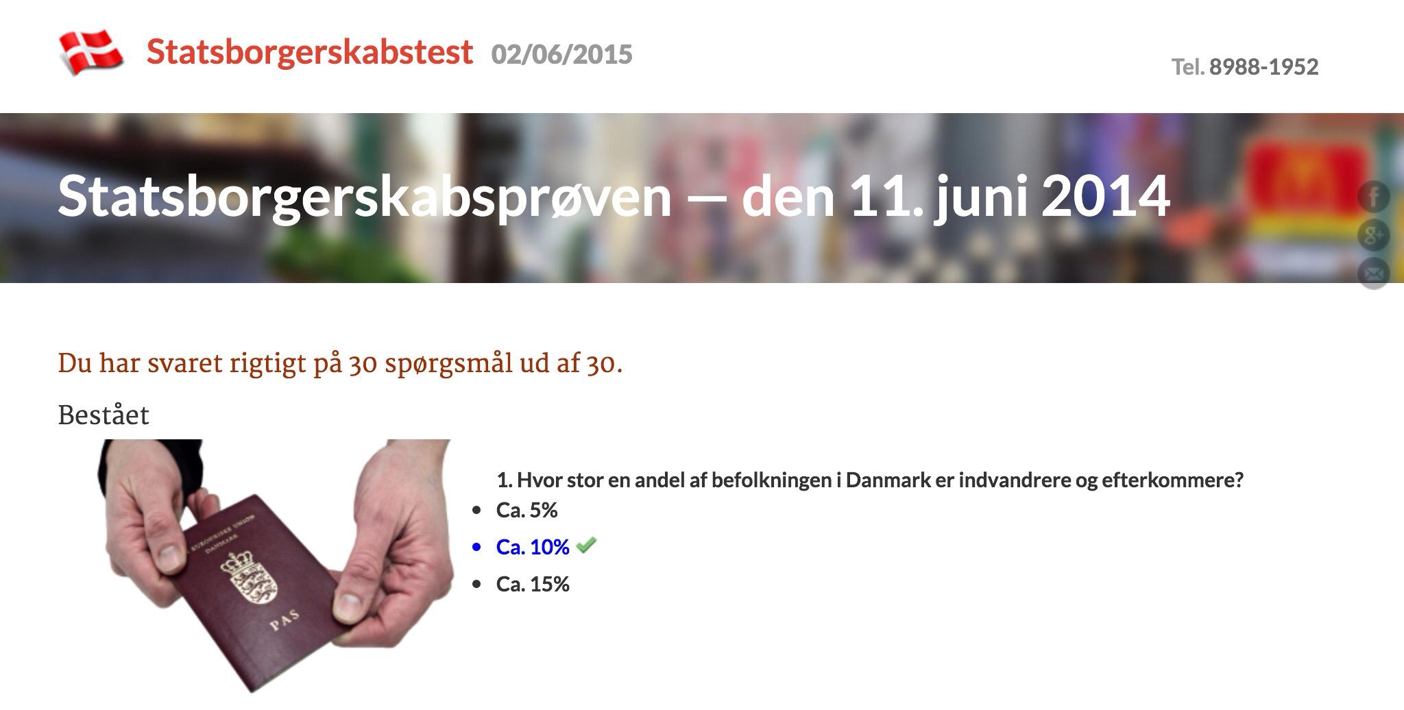 Weeeh! Jeg klarede statsborgerskabsprøven af den 11. juni 2014!